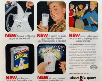 Retro Starlac Instant Milk Ad from a 1955 Saturday Evening Post, Great Vintage Paper Ephemera with Bright Graphics.