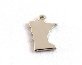 2x Silver Plated Blank Minnesota State Charms - M070-MN