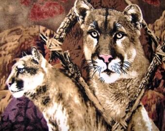 Mountain Lion Cougar Puma Fleece Throw Blanket