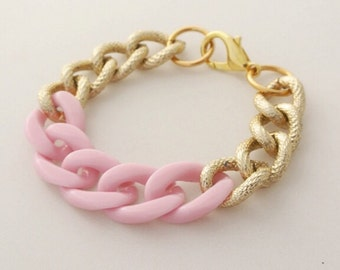 CLEARANCE!!  Powder Pink Chain Bracelet