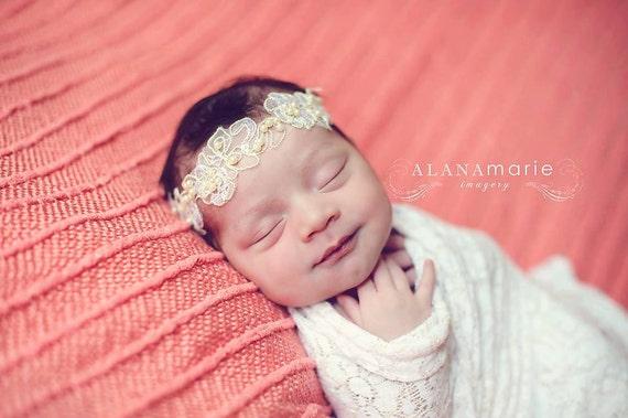 natalia ivory lace pearl headband newborn headband newborn. Black Bedroom Furniture Sets. Home Design Ideas