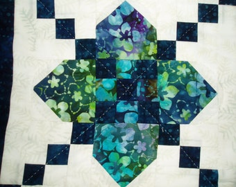 Hand Quilted Table runner Blue and blue green Square on square design with snowflake backing