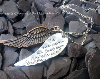 Hand stamped 'We are never so lost' Angel Wing Necklace, Handmade, Stamped, Aluminium, Angel Wing, Copper Angel Wing Charm, Quote, jewlery.