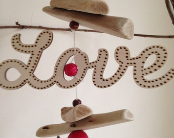 Love Scroll Wording Driftwood Hanging Decoration - Valentines