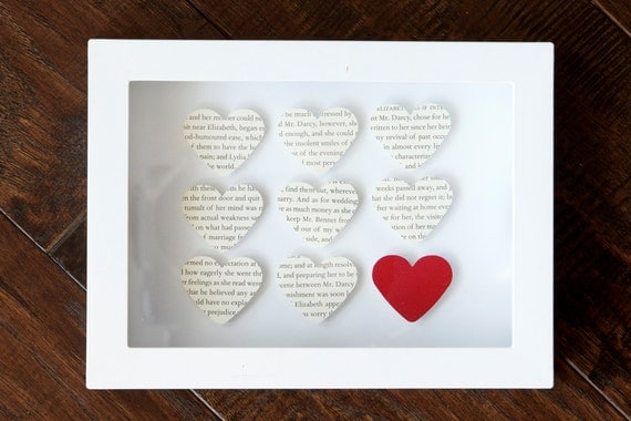 Pride and Prejudice and Red Heart Shadowbox Picture - For Jane Austen Fans and Book Lovers - Other Books Available