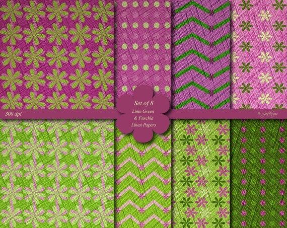 Linen Textured Lime Green And Fuschia Digital Scrapbook Papers