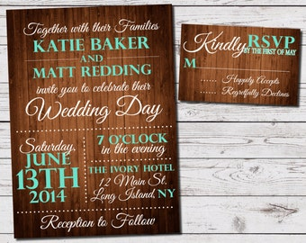 Rustic Wood Wedding Invitation and RSVP Set (printable)- available in ANY color- coral, teal, pink, peach, etc.