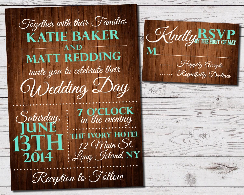Rustic Wedding Invitation Sets: Rustic Wood Wedding Invitation And RSVP Set Printable