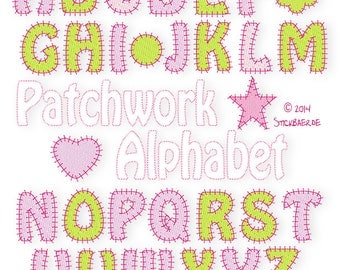 Patchwork Alphabet  Machine Embroidery Files