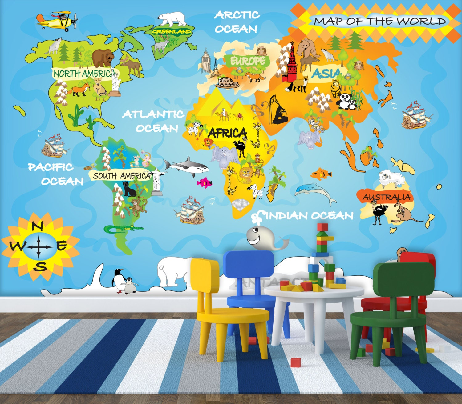 Kids map wall mural repositionable peel stick wall by for Children s wallpaper mural