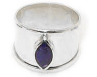 Thick Band Marquise Stone Sterling Silver Ring