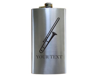 Personalized Engraved trombone 12 oz Stainless Steel Pocket Hip Flask