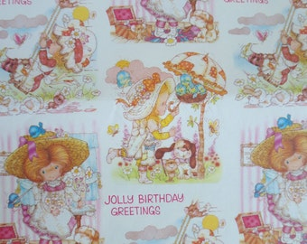 Vintage Wrapping Paper Holly Hobbie Style 1970, 68cm x 49cm.