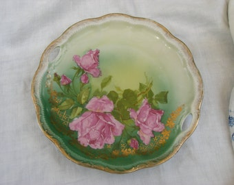 Plate - Cake Plate - German China - Roses - Vintage