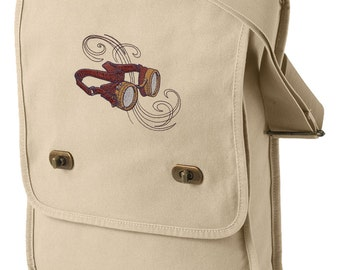 Steam Motifs - Brass Goggles Embroidered Canvas Field Bag