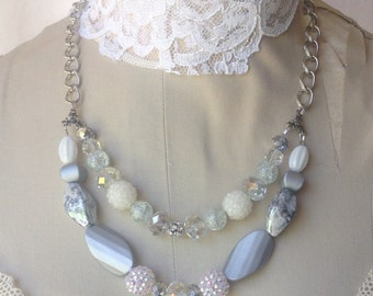 Gorgeous White and Silver Rhinestone Layered Necklace by K'nique Jewelry