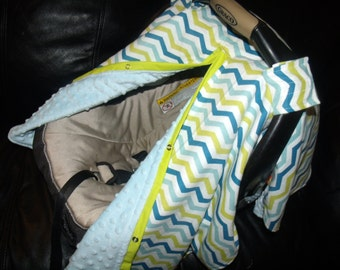 Carseat Canopy Minky Flannel Blue Green Print Chevron car seat canopy car seat cover infant car seat