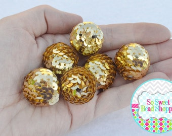 22mm Acrylic Sequin Beads, 6ct, Gold, Gumball Beads, Round