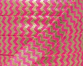Hot Pink and Gold Foil Metallic Chevron Fold Over Elastic - Elastic for Baby Headbands and Hair Ties - 5 Yards 5/8 inch Printed FOE