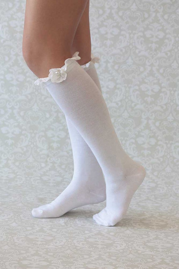 Lace Trim Boot Socks White Boot Socks White Lace