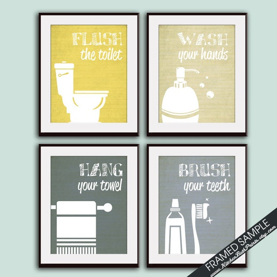 Like this item. Funny Bathroom Prints Set of 4 Art Print Featured in