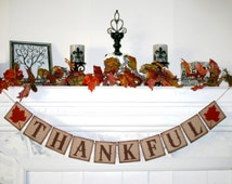 THANKFUL  BANNER Thanksgiving Banner Fall Colors  Rustic style