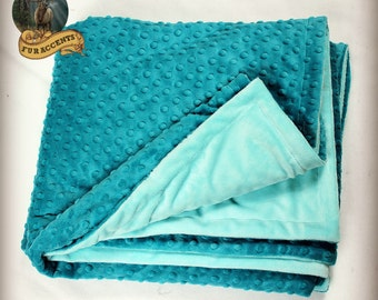 FUR ACCENTS Minky Cuddle Fur Throw Blanket / Reversible / Teal Blue