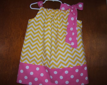 Girls Pink Lemonade Dress, Yellow Chevron, Pink Polka Dot, Pillowcase Dress, 3month-8years, Baby Dress, Toddler Dress, Summer Beach Dress