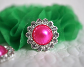 Hot Pink Metal Rhinestone Buttons or Flower Centers - Rhinestone Embellishment Button- 21mm Flat Back Acrylic Buttons