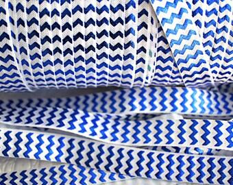 1 Yard Foil Print Chevron Royal Blue & White FOE - 5/8 Fold Over Elastic - Foldover Elastic - printed FOE- Elastic by the yard - DIY