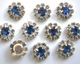 Set of 2 - 12mm Blue Flat Back Rhinestone Buttons - Rhinestone Buttons - Flower Centers - Mini Rhinestone Buttons Metal Rhinestone Button