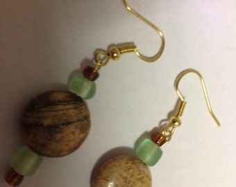 Tan, Green and Bronze Earrings