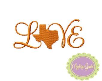 Texas Love Machine Embroidery Design