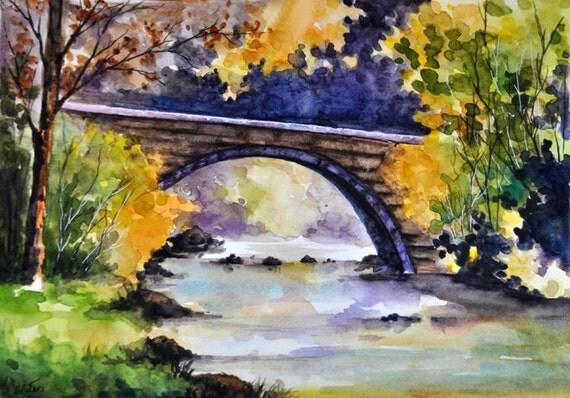 Peinture de paysage aquarelle originale paysage dautomne - Paysage d automne dessin ...