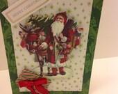 Christmas card  ,   Santa card ,  merry christmas ,   vintage  card ,  handmade Christmas  card