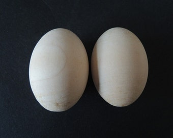 "2pcs 60x42mm  (2.4x1.6"")  Unfinished Natural Wood Egg Wooden Egg Easter egg   (W503)"