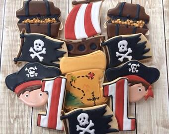Pirate Boy Cookies, Pirate Cookies, Birthday Cookies, Favors