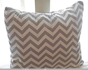 Decortive Pillow Throw Cover Chevron Zig Zag Grey & White Premier Print