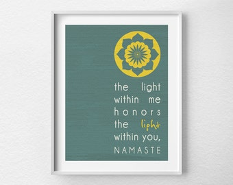 Namaste Print, Yoga Print, Yoga Studio Decor, Typography Poster, Wall Art, Inspirational Print, Yoga Poster, Motivational Art, 0156