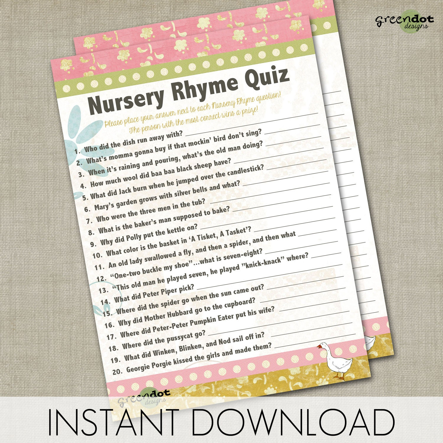 Instant Download Nursery Rhyme Quiz Baby Shower By Greendotdesigns. Nursery  ...