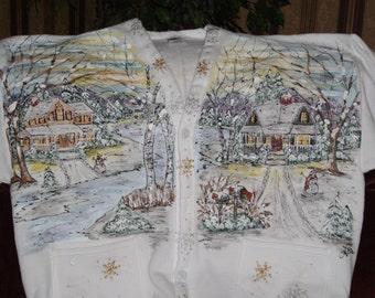 Snowy Countryside Sweatshirt Cardigan