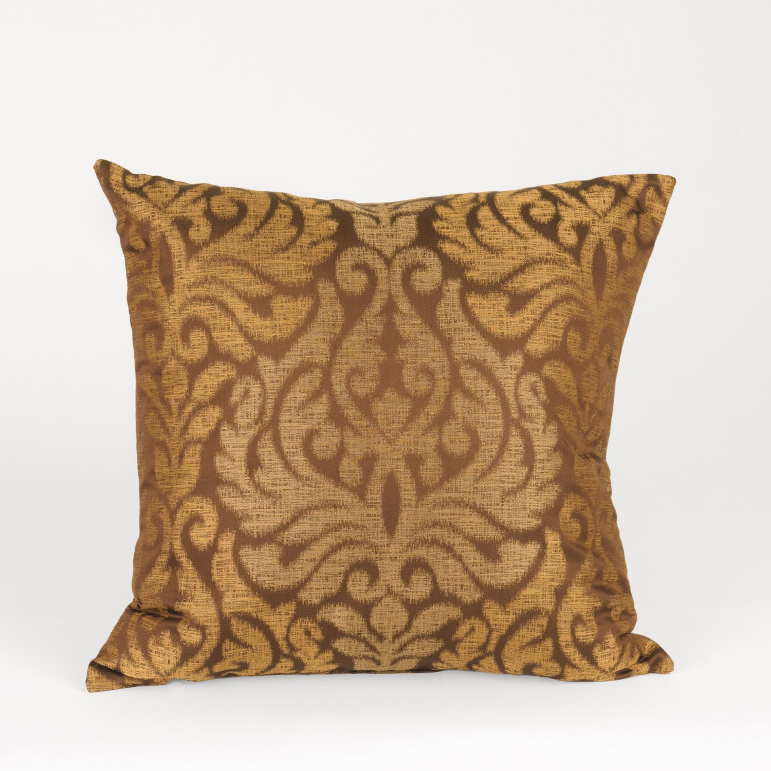 Damask Print Home Decor Accent Pillow Copper Colored by