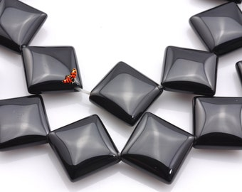Black Onyx smooth rhombus beads 12x12mm,26pcs
