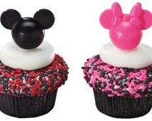 24 Disney Mickey & Minnie Mouse Head Cupcake Picks Cake Decor Toppers Birthday Party Supplies