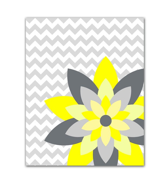 yellow and gray flower burst wall art chevron botanical. Black Bedroom Furniture Sets. Home Design Ideas