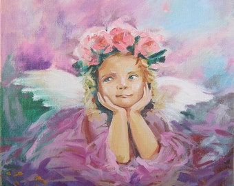 A Christmas Angel Picture  Art Original Oil Painting