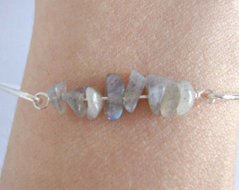 Sterling Silver Labradorite Bangle - Handmade Jewelry - Minimalist Jewelry - Bridesmaid Bangle - Everyday Jewelry - Labradorite Crystals