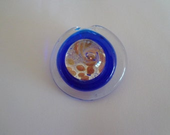 Dichroic Fused Glass Pendant,Handmade Cobalt Blue Circular Glass Pendant with Gold Sparkles