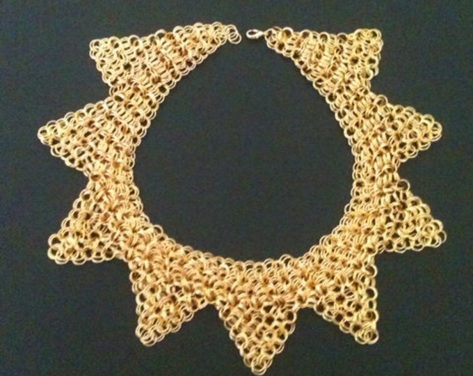 Gold Chainmail sunray necklace