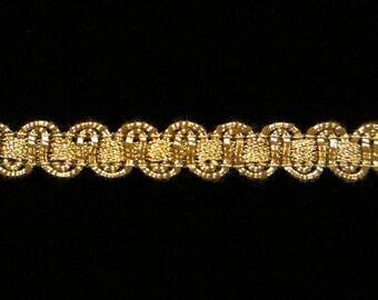 """621.2 Metallic gimp trim - """"Large U-loop"""" antique-gold - 3/8"""" (9mm)"""